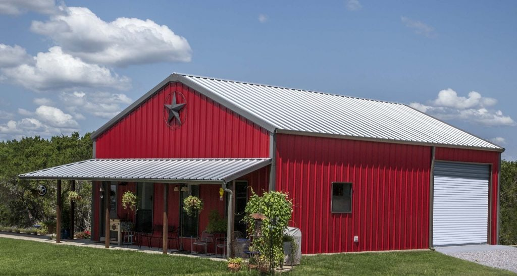 Mueller buildings custom metal steel frame homes for Barn house plans with porches