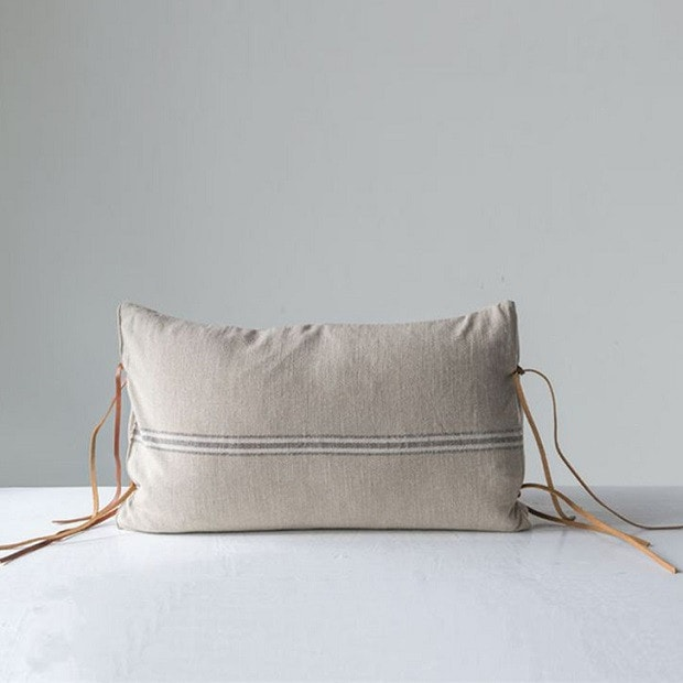 Leather Tie Pillow