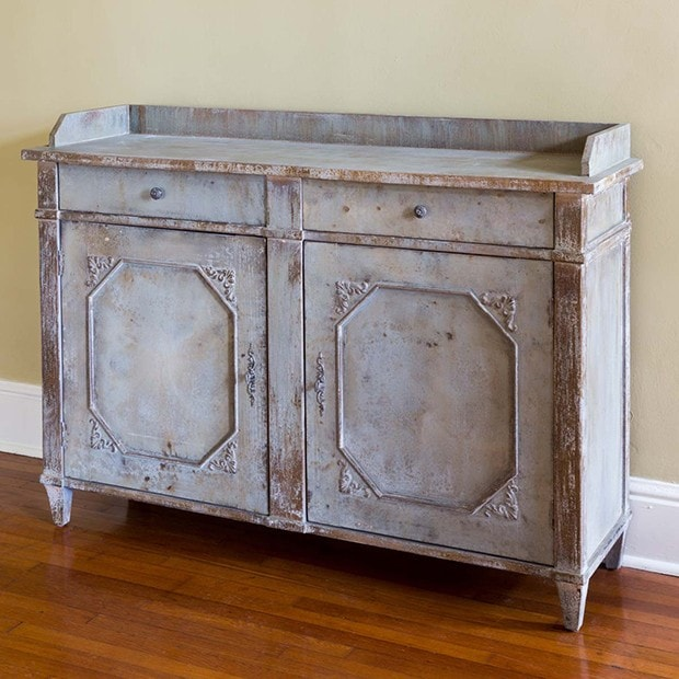 weathered console cabinet