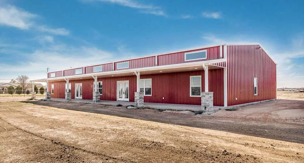 new construction red metal barn AmarilloTX 79118