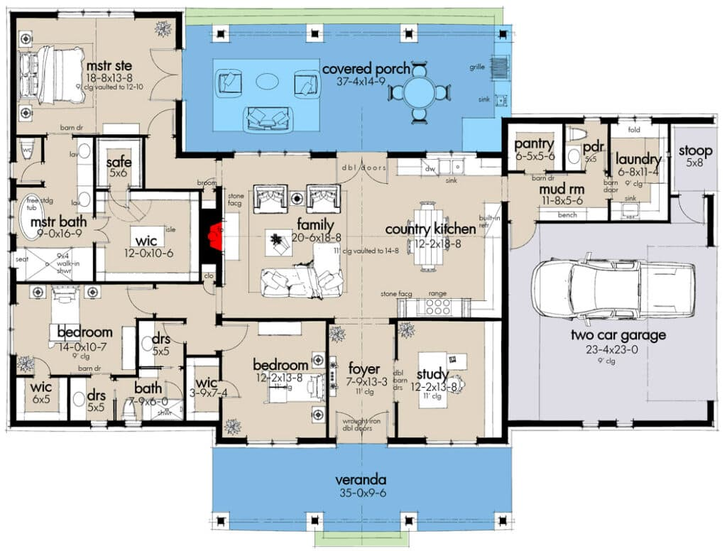 steel frame farmhouse floor plan